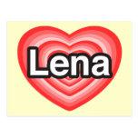 Amo Lena. Te amo Lena. Corazón Tarjetas Postales