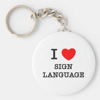 Amo lenguaje de signos llavero redondo tipo pin