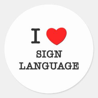 Amo lenguaje de signos pegatina redonda