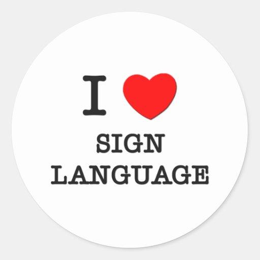 Amo lenguaje de signos pegatinas redondas