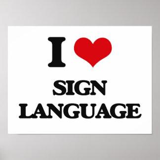 Amo lenguaje de signos póster