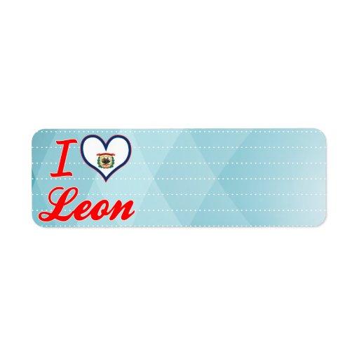 Amo León, Virginia Occidental Etiqueta De Remite