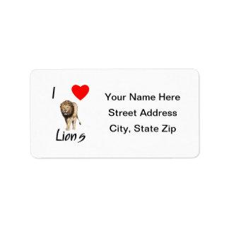 Amo leones (2) etiqueta de dirección