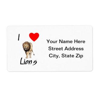 Amo leones (2) etiquetas de envío