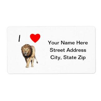 Amo leones (3) etiquetas de envío