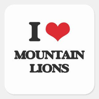 Amo leones de montaña pegatina cuadrada