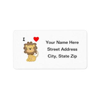 Amo leones etiqueta de dirección
