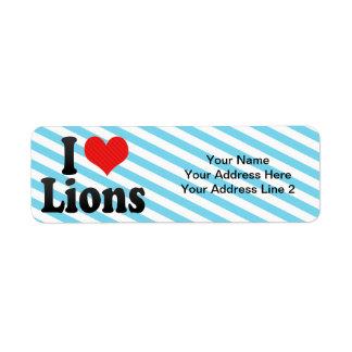 Amo leones etiqueta de remite