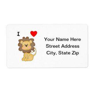 Amo leones etiquetas de envío