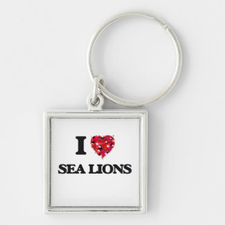 Amo leones marinos llavero cuadrado plateado