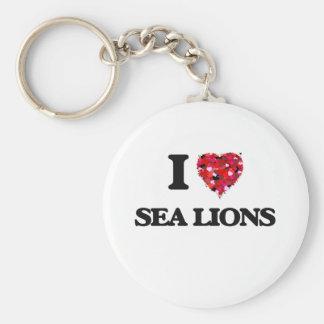 Amo leones marinos llavero redondo tipo pin