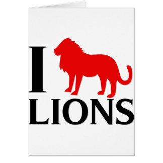 Amo leones tarjeta de felicitación