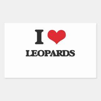 Amo leopardos pegatina rectangular