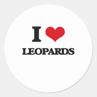 Amo leopardos pegatina redonda