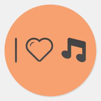 Amo letras de la música pegatina redonda