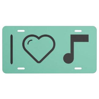Amo letras de la música placa de matrícula