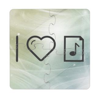Amo letras de la música posavasos de puzzle