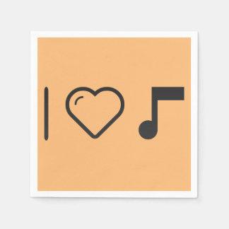 Amo letras de la música servilleta desechable