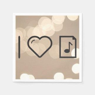 Amo letras de la música servilletas de papel