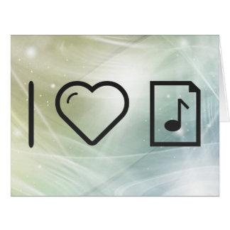 Amo letras de la música tarjeta de felicitación grande