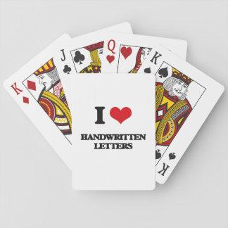 Amo letras manuscritas cartas de póquer
