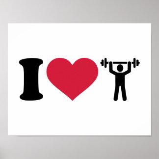 Amo levantamiento de pesas póster