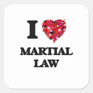 Amo ley marcial pegatina cuadrada