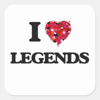 Amo leyendas pegatina cuadrada