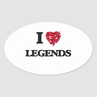 Amo leyendas pegatina ovalada