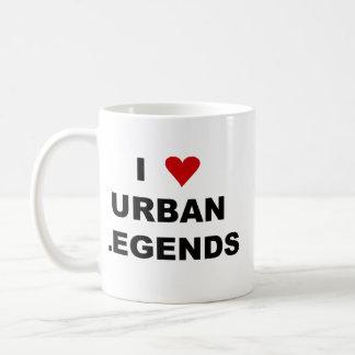 Amo leyendas urbanas que echó a un lado el doble t taza básica blanca