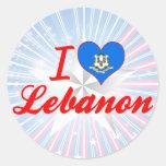 Amo Líbano, Connecticut Pegatina Redonda