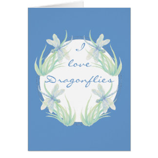 Amo libélulas en acuarela azul y verde tarjeta de felicitación