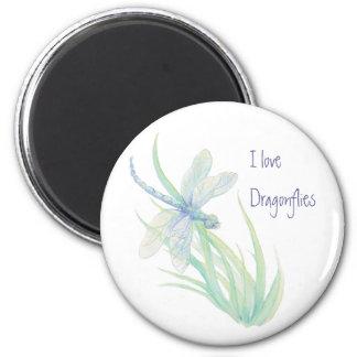 Amo libélulas en azul y verde imán redondo 5 cm