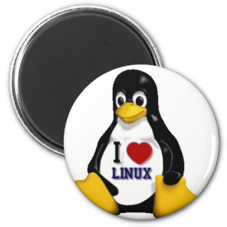 Amo Linux Imán Redondo 5 Cm