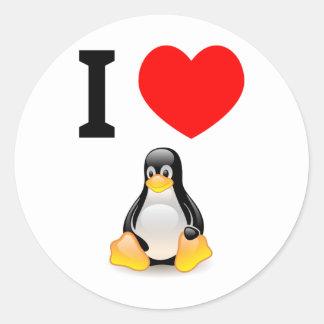 Amo Linux Pegatina Redonda