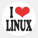 Amo Linux Pegatinas Redondas