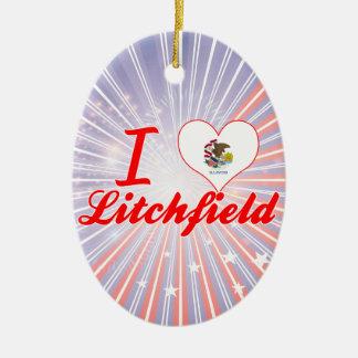 Amo Litchfield, Illinois Adorno Navideño Ovalado De Cerámica
