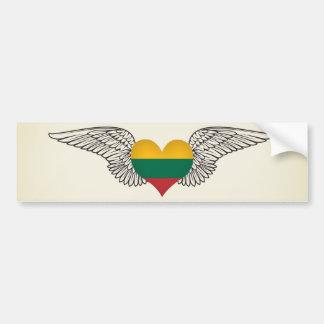 Amo Lituania - alas Etiqueta De Parachoque