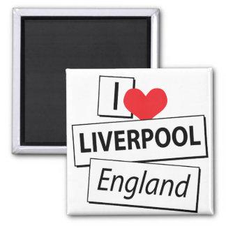 Amo Liverpool Inglaterra Imán Cuadrado