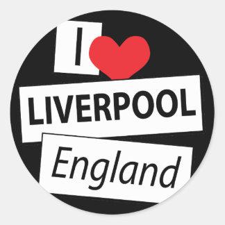 Amo Liverpool Inglaterra Pegatina Redonda