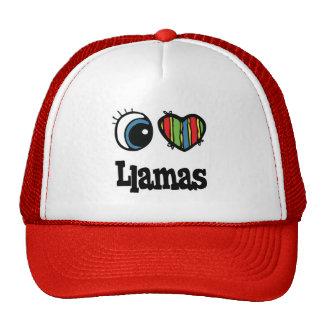 Amo llamas (del corazón) gorras