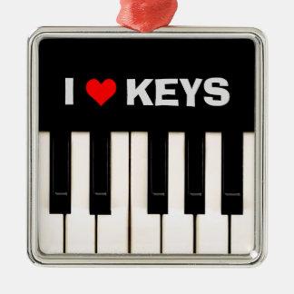 Amo llaves del piano adorno navideño cuadrado de metal
