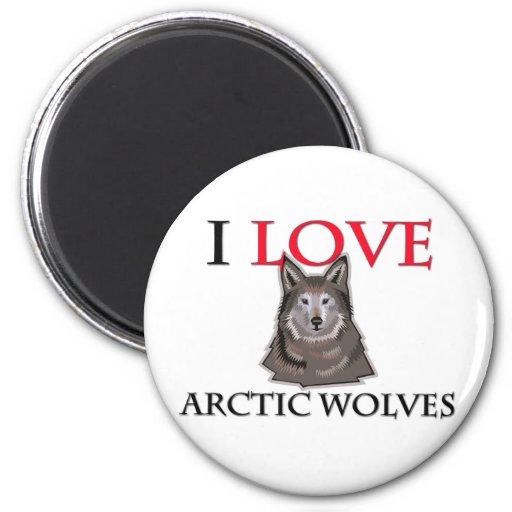 Amo lobos árticos imán redondo 5 cm