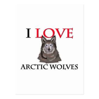 Amo lobos árticos tarjeta postal