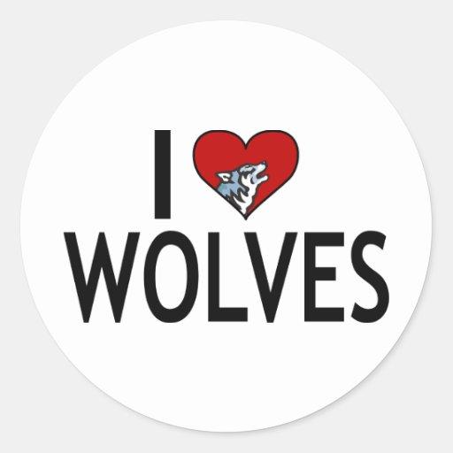 Amo lobos pegatina redonda
