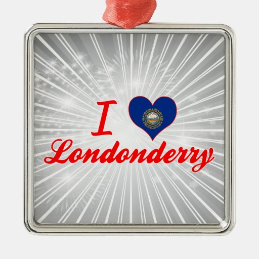 Amo Londonderry, New Hampshire Adorno Cuadrado Plateado