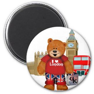 Amo Londres - oso de peluche Imán Redondo 5 Cm