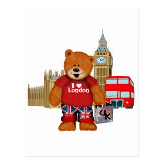 Amo Londres - oso de peluche Postales