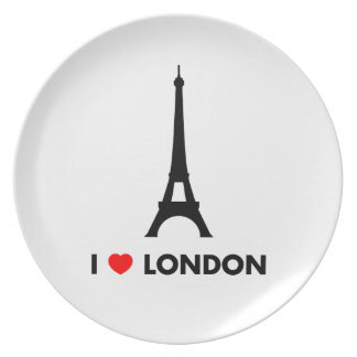 Amo Londres - placa de cena de la torre Eiffel Plato De Comida