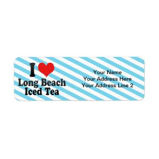 Amo Long Beach+Té helado Etiquetas De Remite
